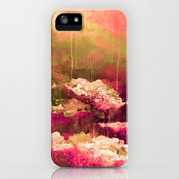 ROSE COLORED LIFE 2 Floral Abstract iPhone 5 Se 6 6S 7 8 Plus X Xr Xs Max Case Samsung Galaxy Hard Phone Pink Burgundy Olive Green Painting