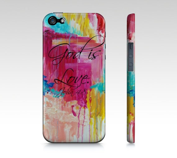 God is Love- iPhone 5 SE 6 7 8 Plus X Xr Xs Max Case Samsung Galaxy Magenta Hot Pink Turquoise Christian Rain Clouds Scripture Bible Verse