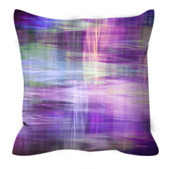 BLURRY VISION 3, Purple Lavender Yellow Blue Tartan Plaid Art Suede Throw Pillow Cover 20x20 26x26 Watercolor Abstract Winter Decor Cushion