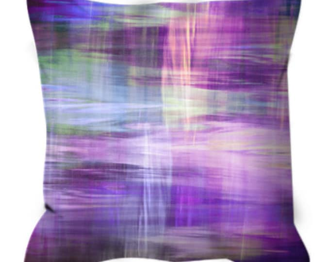 BLURRY VISION 3, Purple Lavender Yellow Blue Tartan Plaid Art Suede Throw Pillow Cover 20x20 26x26 Watercolor Abstract Winter Decor Cushion