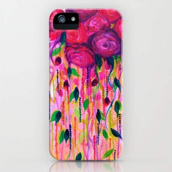 Roses are Rad, Revisited Pink Floral iPhone 5 SE 6 6s 7 8 X Xr Xs Max Samsung Galaxy Case Plastic Pretty Girly Roses Abstract Art Flowers
