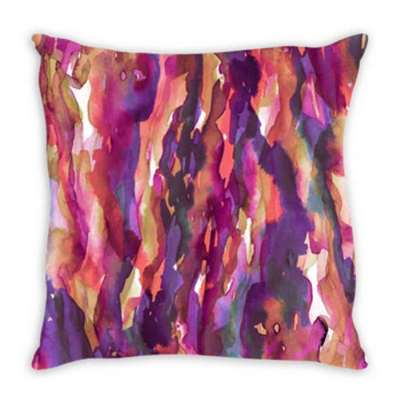 SEAWEED RAINBOW 2, Purple Pink Watercolor Suede Throw Pillow Cushion Cover 18x18 20x20 26x26 Colorful Abstract Art Swirls Boho Girly Decor