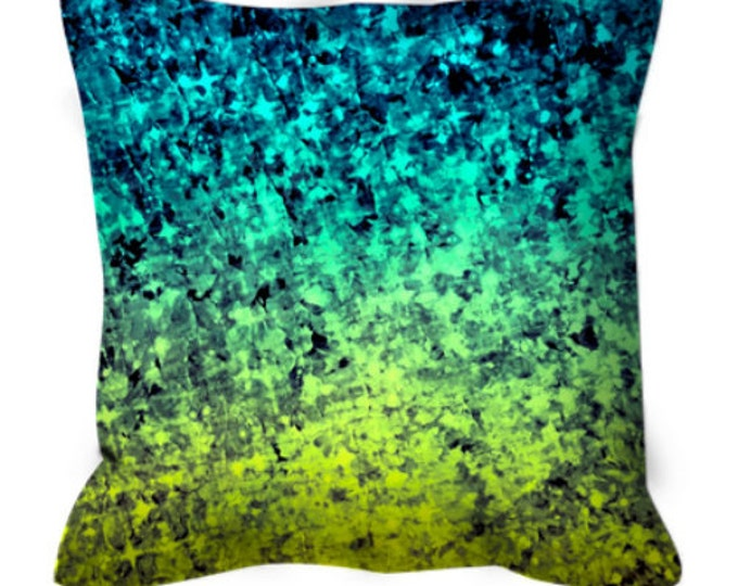 OMBRE LOVE Blue Lime Art Suede Throw Pillow Cushion Cover 18x18 20x20 26x26 Abstract Painting Midnight Royal Blue Aqua Citron Home Decor