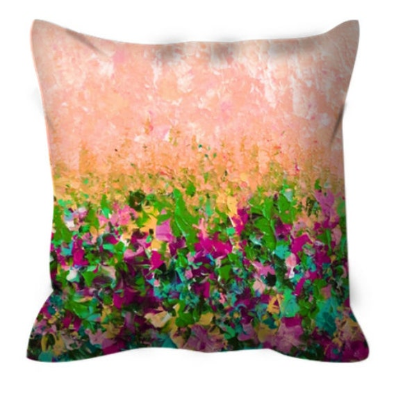 NATURES LIVING ROOM 2, Floral Pattern Art Suede Throw Pillow Cover Abstract Flowers Colorful Peach Magenta Green Sunshine Girly Home Decor