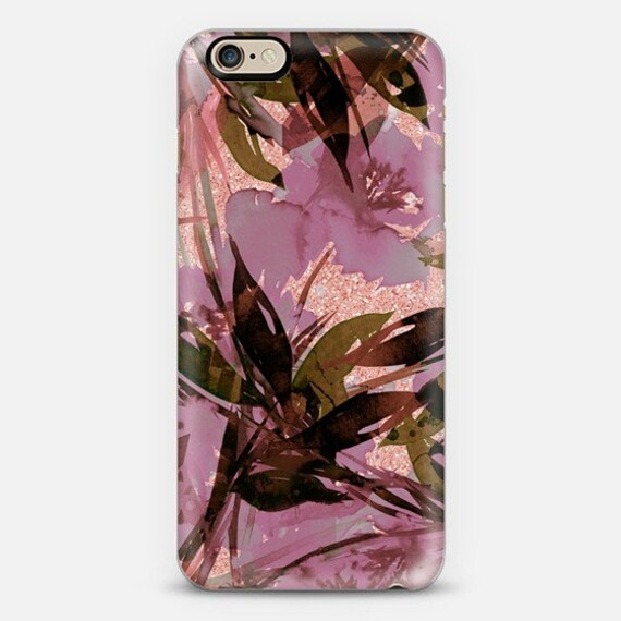 FLORAL FIESTA ROSE Gold Mauve Pink Girly Flowers iPhone 11 Pro Max Case 7 8 X Xr Xs Samsung Galaxy Faux Glitter Abstract Watercolor Pattern