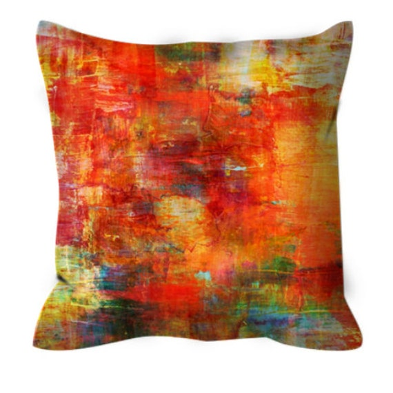 AUTUMN HARVEST Cozy Art Suede Throw Pillow Cushion Cover Decorative Abstract Painting Fall Red Orange Green Brushstroke Modern Decor Cushion