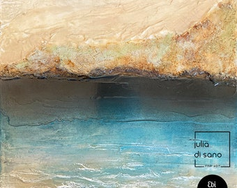 BY THE SEASHORE 5, Abstract Contemporary Coastal Landscape, Coastal Painting, Seaside Painting, Ocean Painting, Beach Original Art Blue Gold
