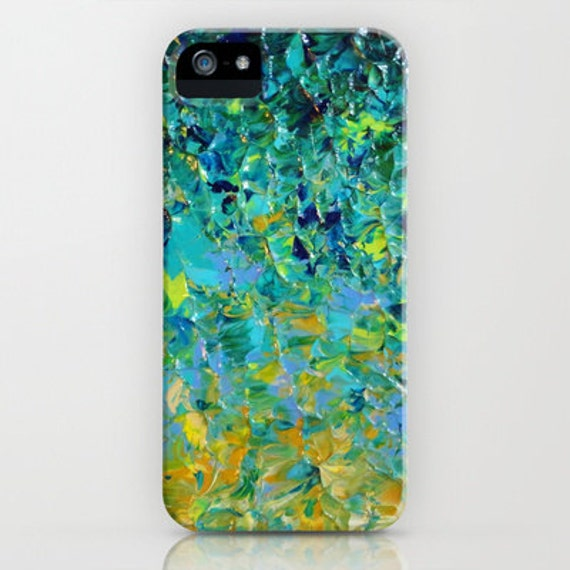 Beauty Beneath the Surface Green Ombre iPhone 5 6 7 8 Xs Xr Plus Case Samsung Galaxy Case Abstract Art Ocean Waves Teal Royal Blue Turquoise