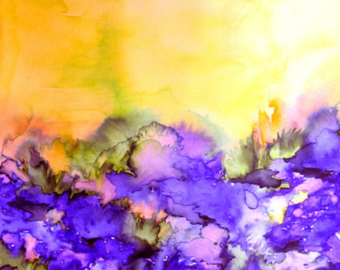 INTO ETERNITY, Yellow and Lavender Purple, Colorful Spring Watercolor Painting Abstract Art Floral Landscape Nature Whimsical Wall Decor