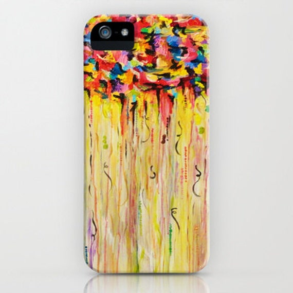 RAINING SUNSHINE Colorful iPhone 5 SE 6 7 8 Plus X Xr Xs Max Case Samsung Galaxy Case Protective Cover Whimsical Abstract Acrylic Painting