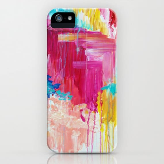 ELATED iPhone 5 SE 6 6s 7 8 Plus X Xr Xs Max Case Samsung Case, Hot Pink Raspberry Peach Vibrant Abstract Pattern Clouds Sky Nature Painting
