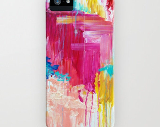 ELATED iPhone 12 Pro Max Case iPhone 11 X Xr Samsung Galaxy S10 S20 S21 Case, Hot Pink Vibrant Abstract Pattern Clouds Sky Nature Painting