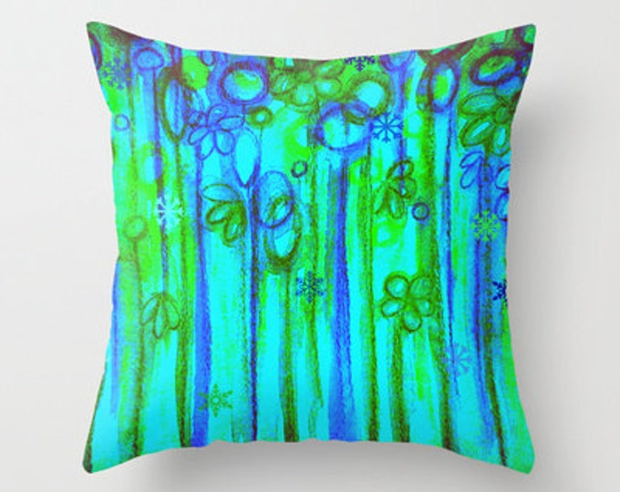 WINTER GARDEN Decorative Throw Pillow Cover 16x16 18x18 20x20 Blue Green Neon Snowflake Floral Abstract Watercolor Painting and Digital Art