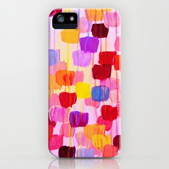 DOTTY IN PINK iPhone 5 Se 6 7 8 Plus X Xr Xs Max Case Samsung Galaxy Cover Polka Dots Rainbow Colors Pink Original Abstract Acrylic Painting