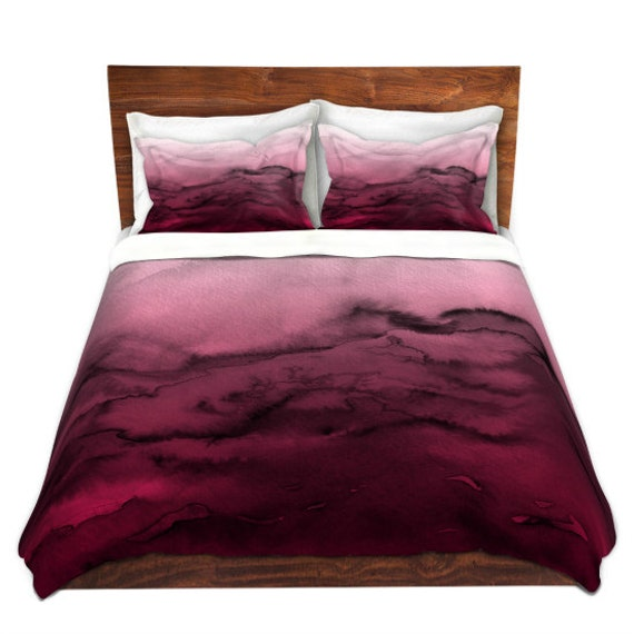 WINTER WAVES 4 Red Hot Pink Black Ombre Art Duvet Covers King Queen Twin Size Decor Bedding Ocean Watercolor Abstract Girly Colorful Bedroom