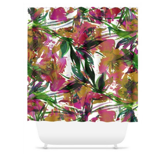 FLORAL FIESTA, EXOTIC, Tropical Pink Green Flowers Art Shower Curtain Girly Washable Decor Lovely Watercolor Painting Modern Style Bathroom