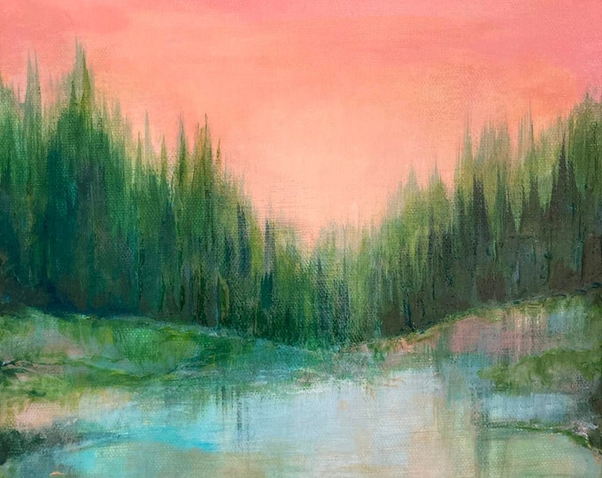 WOODLAND ECHOES Forest Landscape Pink Green Trees Lake Nature Lover Modern Abstract Fine Art Decor OOAK Small Painting Affordable Art Gift