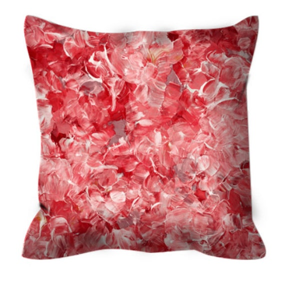 BLOOM ON, RED Mauve Floral Pattern Suede Throw Pillow Cushion Cover 18x18 20x20 26x26 Colorful Abstract Flowers Christmas Xmas Festive Decor