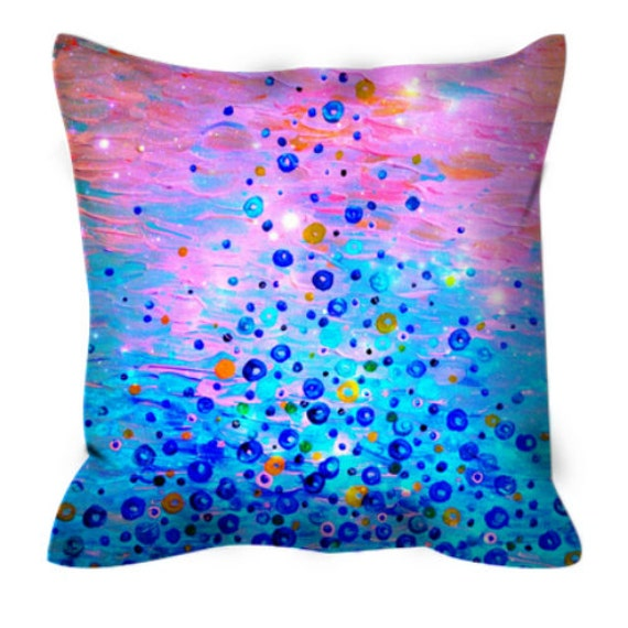 WHAT GOES UP, Revisited - Fine Art Decorative Suede Throw Pillow Abstract Acrylic Painting Bubbles Pink Blue Feminine Dorm Home Decor