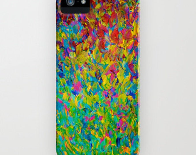 RAINBOW FIELDS Teal Blue Green Abstract iPhone 12 Pro Max 7 8 X 11 Case Samsung Galaxy S10 S20 S21 Phone Cover Painting Pattern Ocean Waves