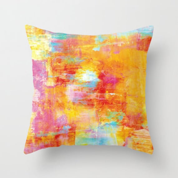 OFF THE GRID 1 Pastel Neon Orange Pink Turquoise Abstract Throw Pillow Cover 16x16 18x18 20x20 Decorative Watercolor Acrylic Modern Painting
