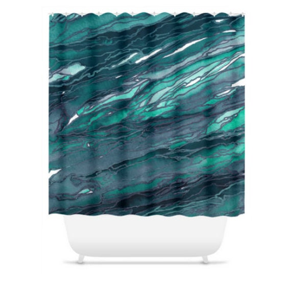 AGATE MAGIC, Dark TEAL, Colorful Ocean Waves Shower Curtain Abstract Watercolor Marble Pattern Art Washable Home Decor Modern Chic Bathroom