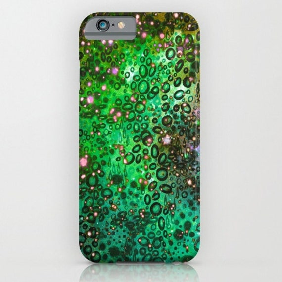 RAINBOW DOTTY OCEAN Green iPhone 5s Se 6 7 8 X Xr Xs Max Case Samsung Galaxy Plastic Cover Neon Colorful Bubbles Ombre Abstract Painting