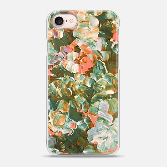 FLORAL FANTASY, BOHO Peach Green Flowers, 6 7 8 Plus X Xr Xs Max Case Samsung Galaxy S7 S8 S9 Plus Phone Cover Botanical Pattern Fine Art