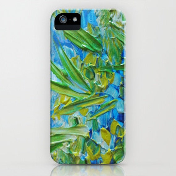 LAKE LOVE Art iPhone 5s SE 6 7 8 X Xr Xs Max Cell Phone Case Samsung Galaxy Case Cover Colorful Blue Green Lagoon Seaweed Abstract Painting