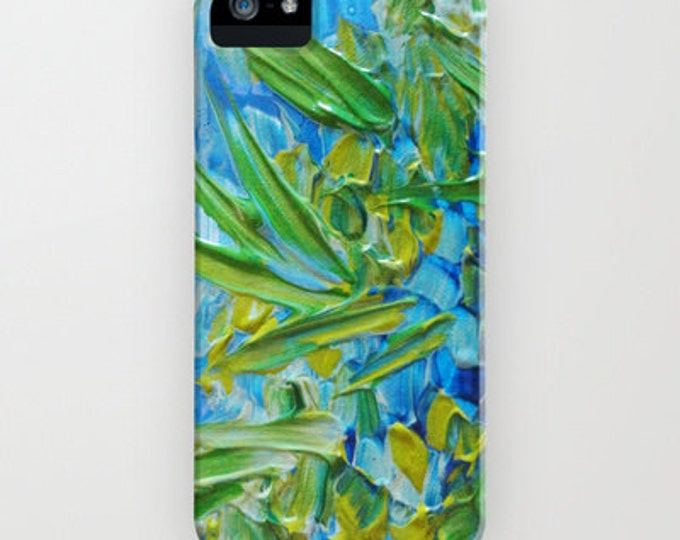 LAKE LOVE Art Colorful Blue Green iPhone X 11 iPhone 12 Pro Max Case Samsung Galaxy S10 S20 S21 Phone Cover Lagoon Ocean Abstract Painting
