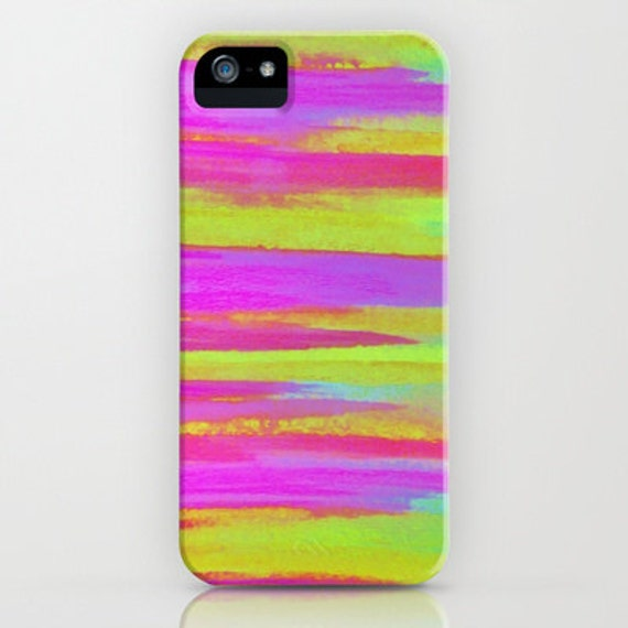 DISCO FEVER Neon Pink Green Stripes iPhone 5 Se 6 7 8 X Xr Xs Max Case Samsung Galaxy Phone Case Girly Abstract Art Plastic Cell Phone Cover