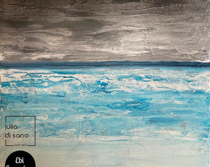 DARK COAST, Minimalist Seascape Painting Abstract Ocean Landscape Painting Blue Gray Minimal Coastal Wall Art Original 12x12 Small Canvas