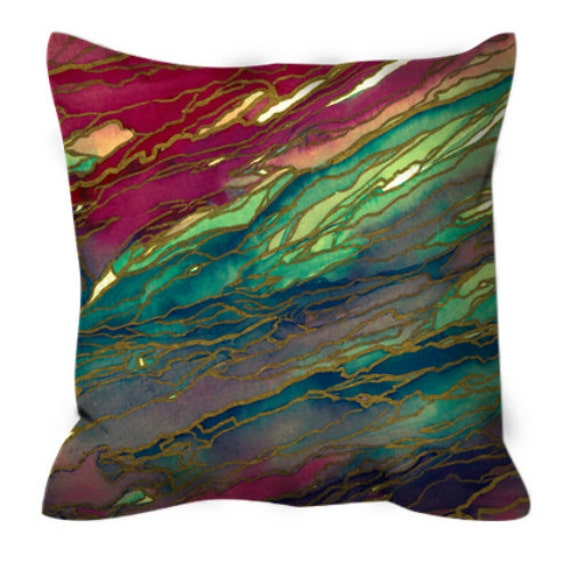 AGATE MAGIC, Red Aqua Teal Marble Suede Throw Pillow Cushion Cover 18x18 20x20 26x26 Colorful Abstract Crimson Gold Geode Xmas Festive Decor