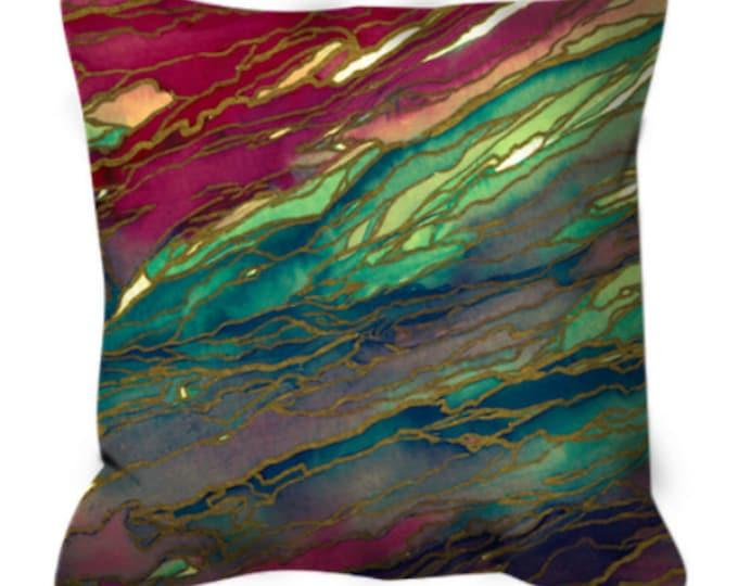 AGATE MAGIC, Red Aqua Teal Marble Suede Throw Pillow Cushion Cover 18x18 20x20 26x26 Colorful Abstract Crimson Gold Geode Xmas Festive Decor
