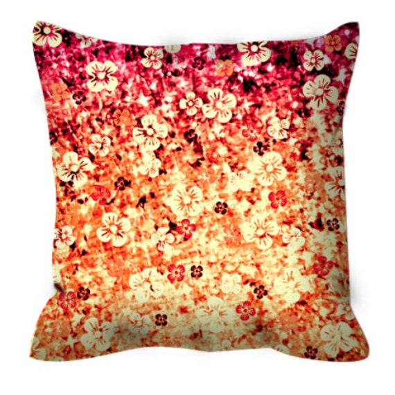 FLOWER POWER Orange Ombre Floral Art Suede Throw Pillow Cushion Cover 18x18 20x20 26x26 Tangerine Magenta Flowers Modern Home Decor Painting