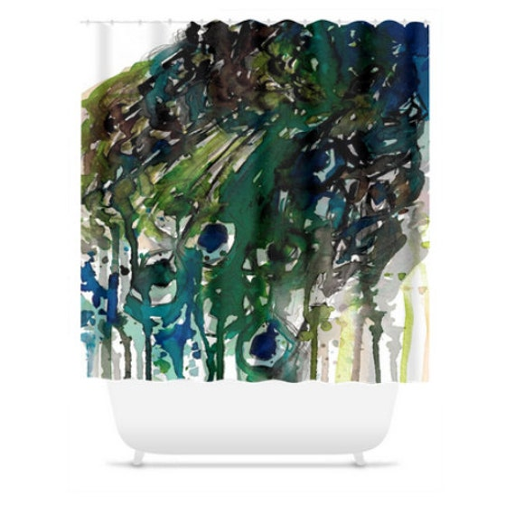 PRIDE 1 Peacock Feathers Colorful Art Painting Shower Curtain Washable Decor Multicolored Chic Green Teal Blue Gray Modern Style Bathroom