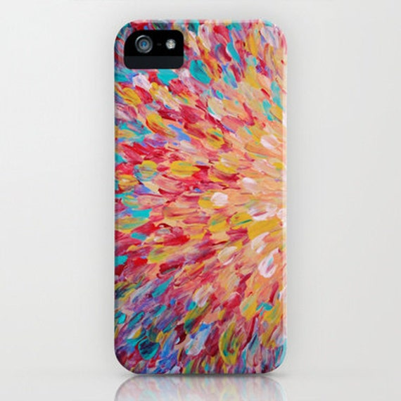 SPLASH Pastel Colorful iPhone 5 SE 6 7 8 Plus X Xr Xs Xs Max Case Samsung Galaxy Peach Pink Red Turquoise Ocean Waves Abstract Art Painting