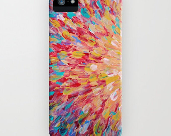 SPLASH Pastel Colorful iPhone 12 Pro Max Case iPhone X Xr Xs Xs 11 Samsung Galaxy Peach Pink Red Turquoise Ocean Waves Abstract Art Painting