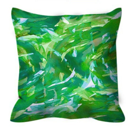 MOTLEY FLOW 4 Watercolor Suede Throw Pillow Cover Green Aqua Turquoise Swirls Abstract 18x18 Decorative Ocean Waves Art Painting Home Decor