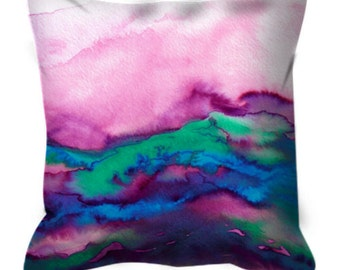 WINTER WAVES 2 Watercolor Marble Ombre Suede Throw Pillow Cushion Cover 18x18 20x20 26x26 Colorful Waves Agate Fuchsia Emerald Blue Decor