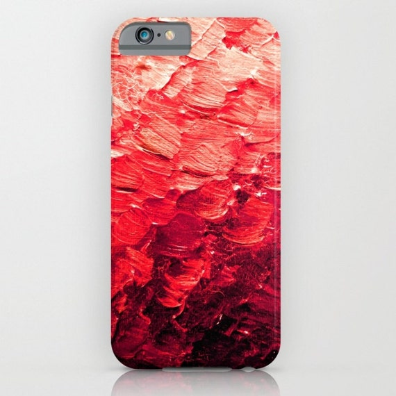 MERMAID SCALES 4, Red iPhone 5 Se 6 6s 7 8 X Xr Xs Max Case Samsung Galaxy Plastic Cover Colorful Feathers Ocean Ombre Abstract Painting