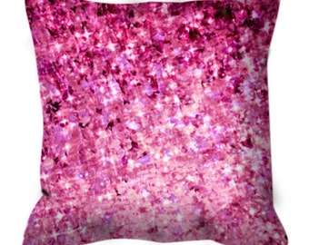 ROMANCE ME Art Suede Throw Pillow Cushion Cover 18x18 Glam Abstract Magenta Pink Burgundy Plum Lavender Purple Valentines Day Home Decor