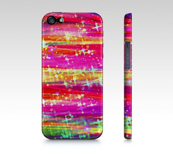 WATERFALLS Colorful Stripes iPhone 6 7 8 X Xr Xs Max Case Samsung Galaxy Case Pretty Stars Girly Abstract Art Pink Purple Magenta Yellow