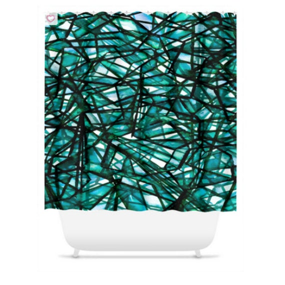 UNCHARTED EMERALD GREEN Colorful Art Painting Shower Curtain Washable Decor Monochrome Geometric Teal Lines Pattern Abstract Modern Bathroom
