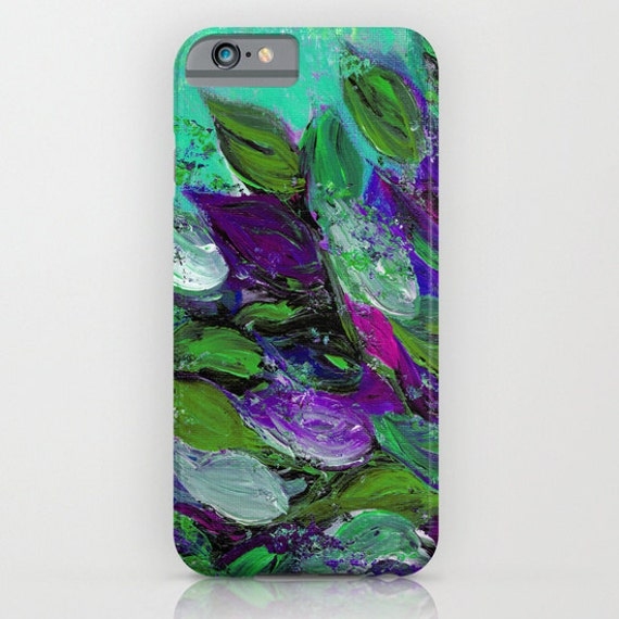 BLOOMING BEAUTIFUL Mint Floral iPhone 5 SE 6 7 8 Plus X Xr Xs Max Case Samsung Galaxy Plastic Phone Cover Garden Abstract Flowers Painting