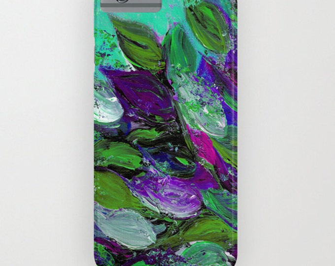 BLOOMING BEAUTIFUL Mint Floral iPhone 8 Plus X Xr Xs Max 11 12 Pro Max Case Samsung Galaxy Samsung Note Phone Cover Leaves Flowers Painting