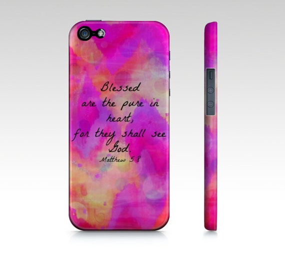 Pure in Heart iPhone 6 7 8 X XR XS 11 Hard Case Ombre Pink Purple Chevron Bible Verse Proverbs Art Christian God Abstract Scripture Biblical