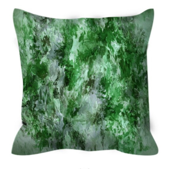 THE NEXUS, GREEN Greenery Abstract Botanical Art Suede Throw Pillow Cover Colorful Nature Lime Olive Hunter Green Pantone 2017 Decor Cushion