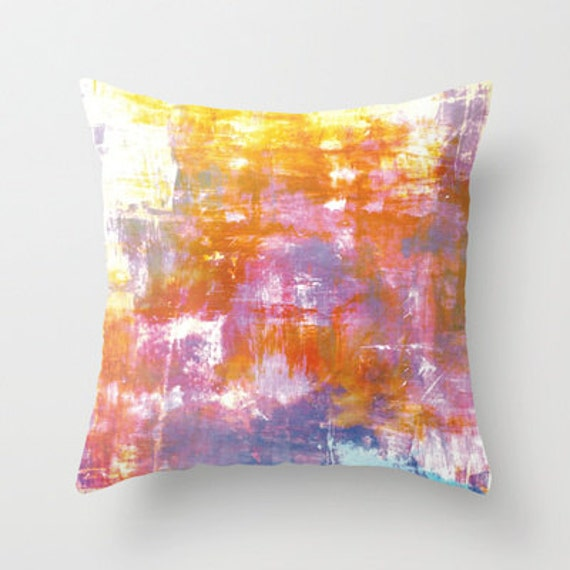 OFF THE GRID 3 Pastel Neon Purple Rust Orange Yellow Abstract Throw Pillow Cover 16x16 18x18 20x20 Decorative Watercolor Modern Painting