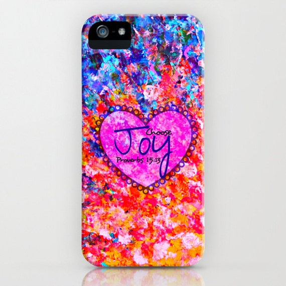 CHOOSE JOY Proverbs iPhone 5 SE 6 7 8 X Xr Xs Max Case Samsung Galaxy Ombre Christian Art Heart Orange Blue Abstract Scripture Bible Verse